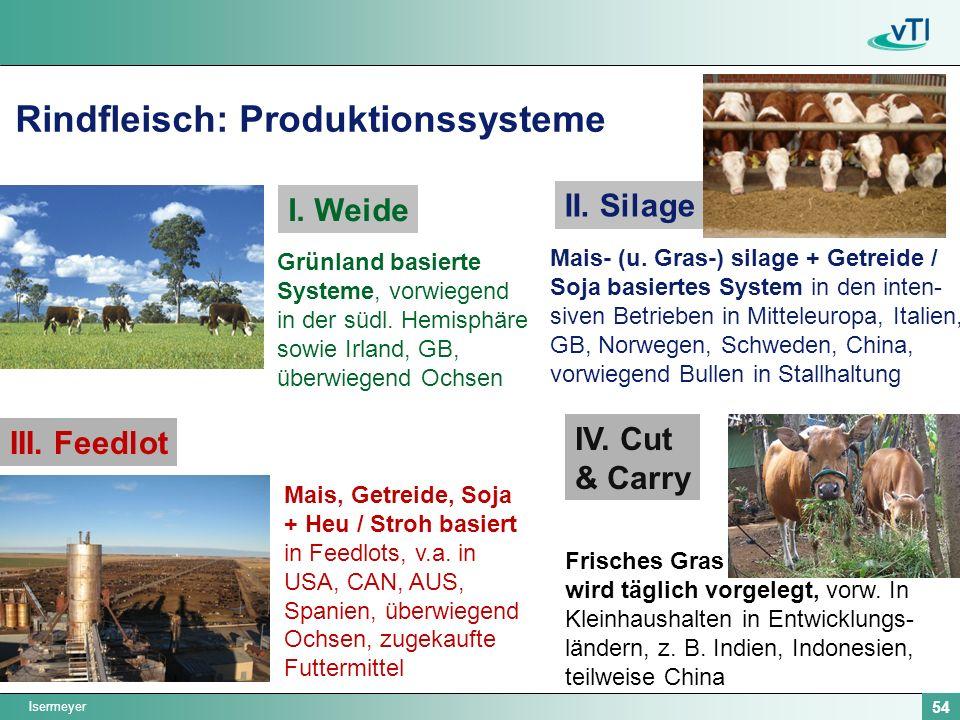 Isermeyer 54 Rindfleisch: Produktionssysteme Grünland basierte Systeme, vorwiegend in der südl. Hemisphäre sowie Irland, GB, überwiegend Ochsen I. Wei