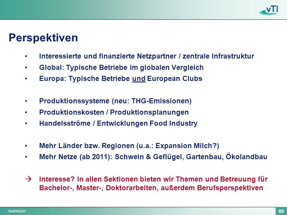 Isermeyer 60 Perspektiven Interessierte und finanzierte Netzpartner / zentrale Infrastruktur Global: Typische Betriebe im globalen Vergleich Europa: Typische Betriebe und European Clubs Produktionssysteme (neu: THG-Emissionen) Produktionskosten / Produktionsplanungen Handelsströme / Entwicklungen Food Industry Mehr Länder bzw.