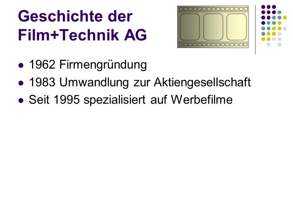 Geschichte der Film+Technik AG 1962 Firmengründung 1983 Umwandlung zur Aktiengesellschaft Seit 1995 spezialisiert auf Werbefilme