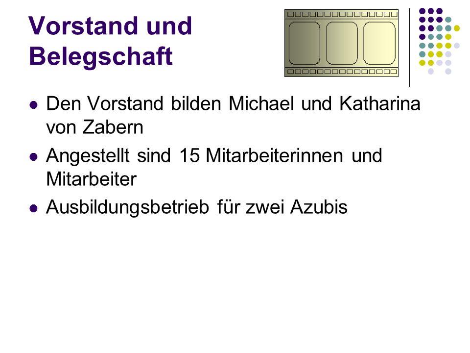 Vorstand und Belegschaft Den Vorstand bilden Michael und Katharina von Zabern Angestellt sind 15 Mitarbeiterinnen und Mitarbeiter Ausbildungsbetrieb f