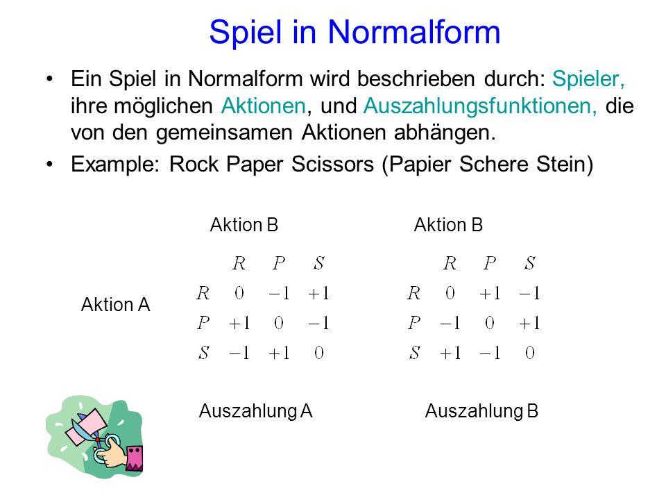 Spiel in Normalform Ein Spiel in Normalform wird beschrieben durch: Spieler, ihre möglichen Aktionen, und Auszahlungsfunktionen, die von den gemeinsam