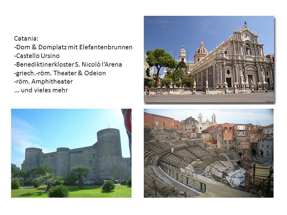 Catania: -Dom & Domplatz mit Elefantenbrunnen -Castello Ursino -Benediktinerkloster S. Nicolò lArena -griech.-röm. Theater & Odeion -röm. Amphitheater