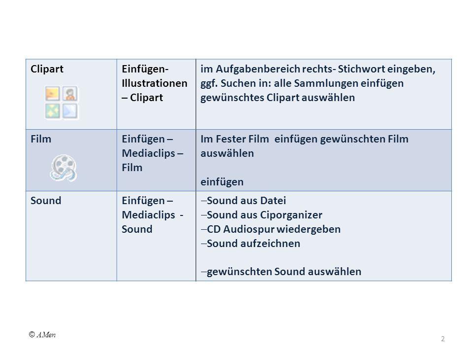 ClipartEinfügen- Illustrationen – Clipart im Aufgabenbereich rechts- Stichwort eingeben, ggf.