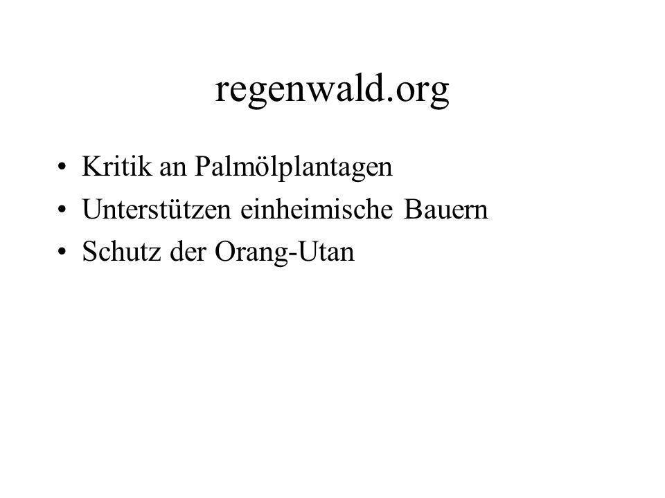 regenwald.org Kritik an Palmölplantagen Unterstützen einheimische Bauern Schutz der Orang-Utan