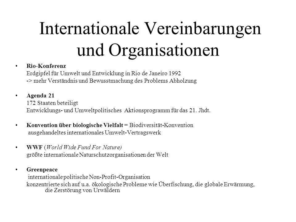 Internationale Vereinbarungen und Organisationen Rio-Konferenz Erdgipfel für Umwelt und Entwicklung in Rio de Janeiro 1992 -> mehr Verständnis und Bew
