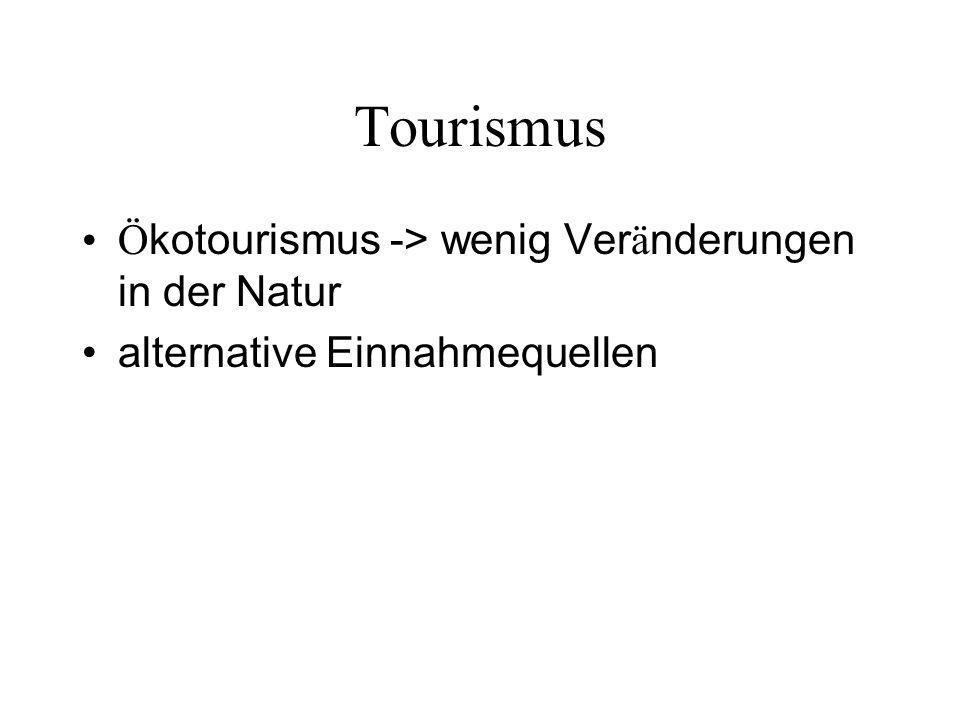 Tourismus Ö kotourismus -> wenig Ver ä nderungen in der Natur alternative Einnahmequellen