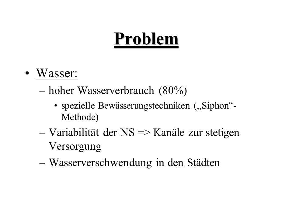 Problem Wasser: –hoher Wasserverbrauch (80%) spezielle Bewässerungstechniken (Siphon- Methode) –Variabilität der NS => Kanäle zur stetigen Versorgung