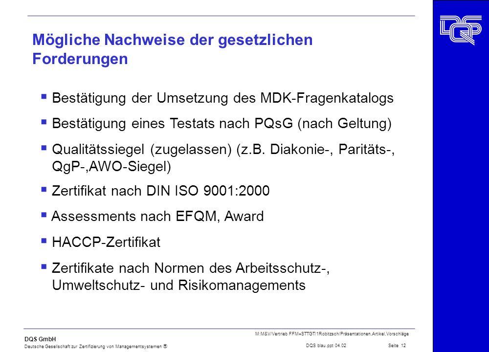 DQS GmbH Deutsche Gesellschaft zur Zertifizierung von Managementsystemen Seite 12 M:M&V/Vertrieb FFM+STTGT/1Robitzsch/Präsentationen,Artikel,Vorschläg
