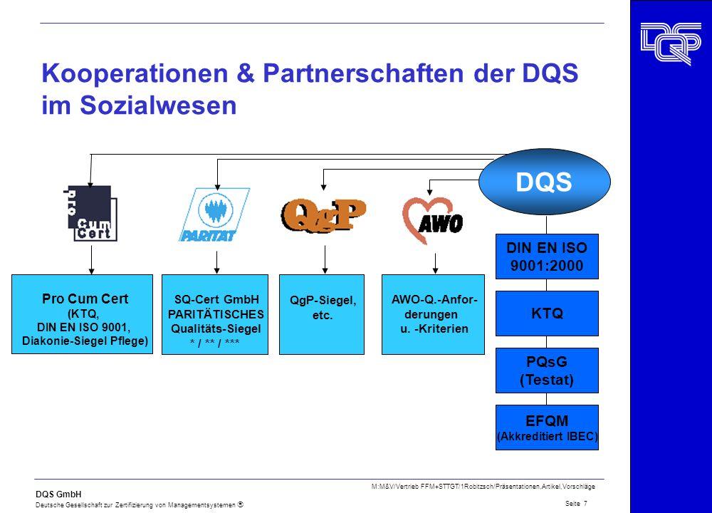 DQS GmbH Deutsche Gesellschaft zur Zertifizierung von Managementsystemen Seite 8 M:M&V/Vertrieb FFM+STTGT/1Robitzsch/Präsentationen,Artikel,Vorschläge System- Analyse vor Ort Vor- Begutachtung vor Ort (optional) System- Begutachtung vor Ort System- Bewertung Bericht an Kunden Erteilung und Nutzung eines DQS- Zertifikates Info an Kunden Info an Kunden Info an Kunden DQS-BEGUTACHTUNGSVERFAHREN -Erstzertifizierung-