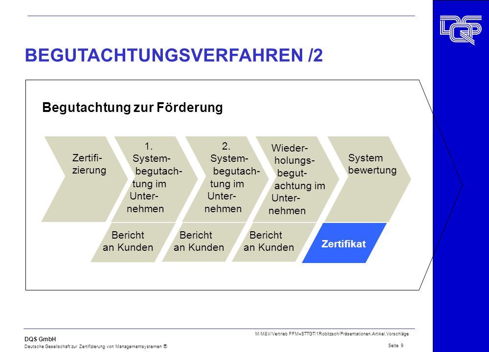 DQS GmbH Deutsche Gesellschaft zur Zertifizierung von Managementsystemen Seite 9 M:M&V/Vertrieb FFM+STTGT/1Robitzsch/Präsentationen,Artikel,Vorschläge