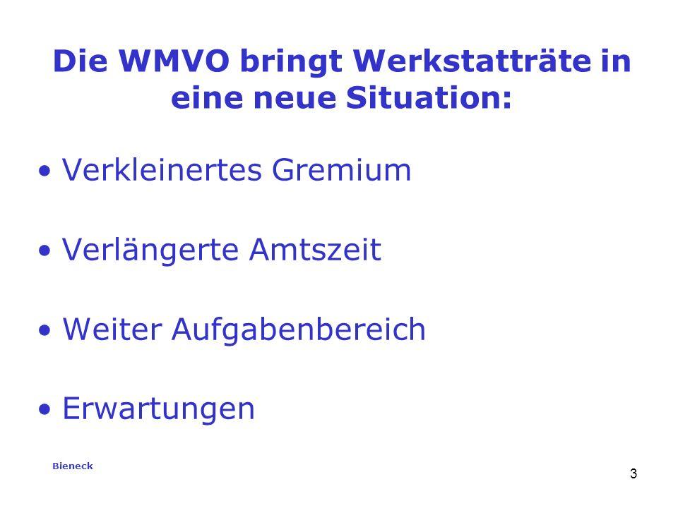 Bieneck 3 Verkleinertes Gremium Verlängerte Amtszeit Weiter Aufgabenbereich Erwartungen Die WMVO bringt Werkstatträte in eine neue Situation: