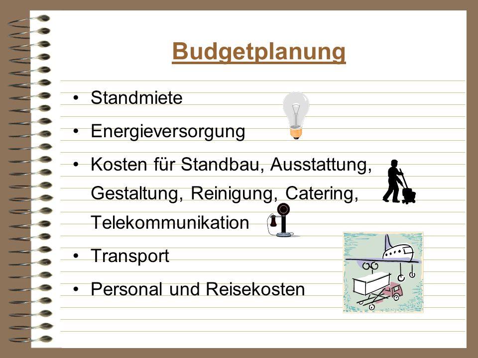Budgetplanung Standmiete Energieversorgung Kosten für Standbau, Ausstattung, Gestaltung, Reinigung, Catering, Telekommunikation Transport Personal und