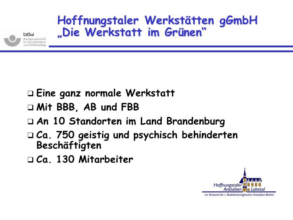 Hoffnungstaler Werkstätten gGmbH Die Werkstatt im Grünen Eine ganz normale Werkstatt Mit BBB, AB und FBB An 10 Standorten im Land Brandenburg Ca. 750