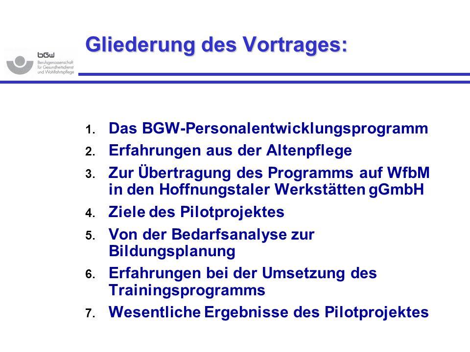 Gliederung des Vortrages: 1. Das BGW-Personalentwicklungsprogramm 2. Erfahrungen aus der Altenpflege 3. Zur Übertragung des Programms auf WfbM in den