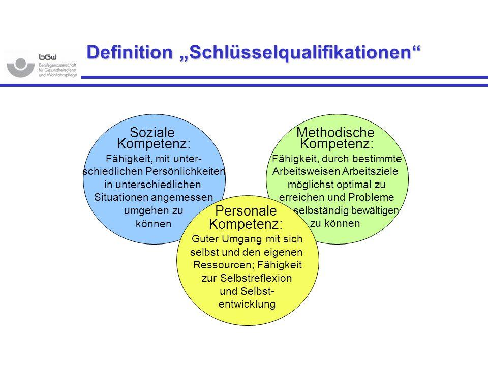 Definition Schlüsselqualifikationen Methodische Kompetenz: Fähigkeit, durch bestimmte Arbeitsweisen Arbeitsziele möglichst optimal zu erreichen und Pr