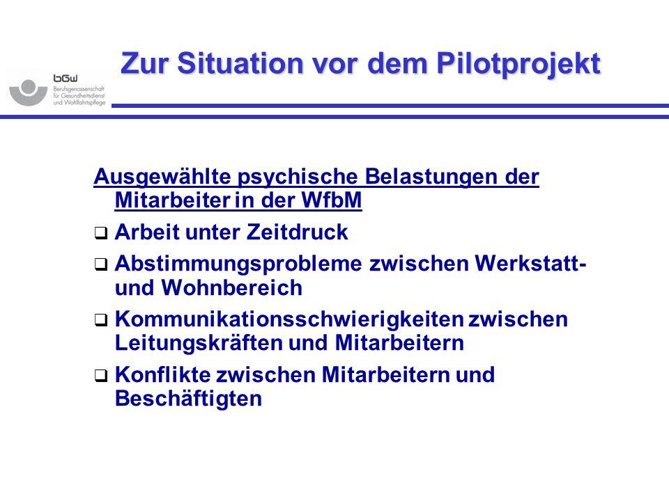 Zur Situation vor dem Pilotprojekt Ausgewählte psychische Belastungen der Mitarbeiter in der WfbM Arbeit unter Zeitdruck Abstimmungsprobleme zwischen