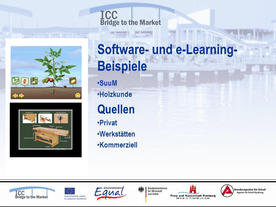 Freie und Hansestadt Hamburg Behörde für Wirtschaft und Arbeit Software- und e-Learning- Beispiele SuuM Holzkunde Quellen Privat Werkstätten Kommerziell