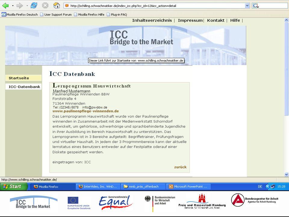 Freie und Hansestadt Hamburg Behörde für Wirtschaft und Arbeit Tel: (02345) 5678 info@pw-bbw.de Manfred Mustermann