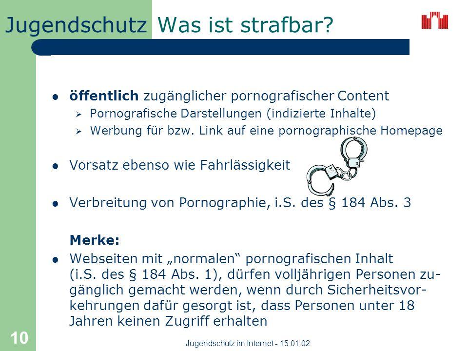 Jugendschutz Jugendschutz im Internet - 15.01.02 9 Kunst vs. Pornographie BRAVO FSK 16 Kunst