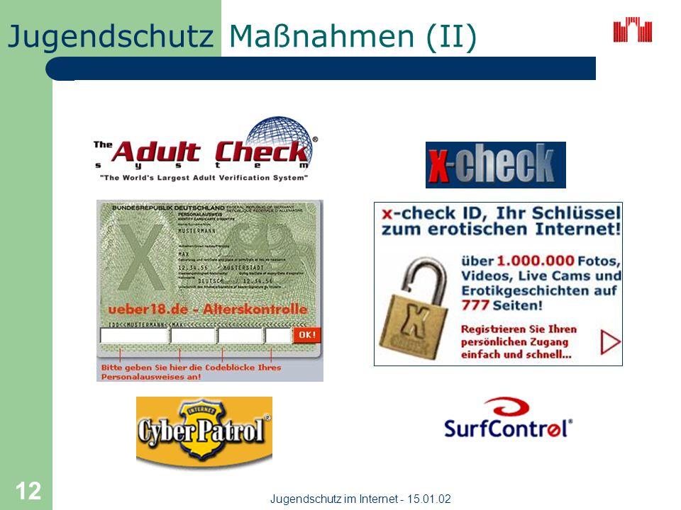 Jugendschutz Jugendschutz im Internet - 15.01.02 11 Maßnahmen (I) gibt keine 100prozentige Sicherung, das Alter einer Person online, per Brief, Fax fe