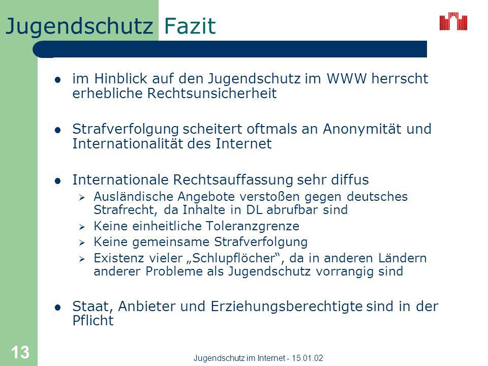 Jugendschutz Jugendschutz im Internet - 15.01.02 12 Maßnahmen (II)