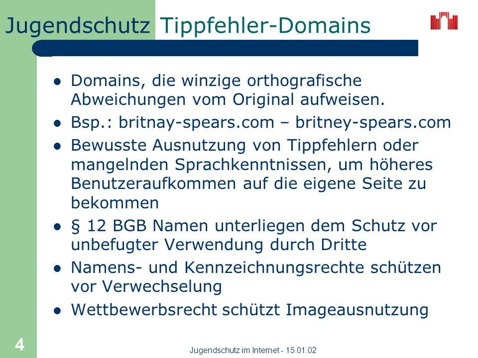 Jugendschutz Jugendschutz im Internet - 15.01.02 4 Tippfehler-Domains Domains, die winzige orthografische Abweichungen vom Original aufweisen.