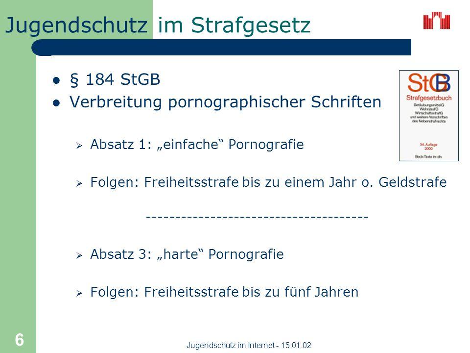 Jugendschutz Jugendschutz im Internet - 15.01.02 5 im Grundgesetz Artikel 5 Absatz 1 (GG) Recht auf freie Meinungsäußerung Artikel 2 Absatz 1 (GG) Rec