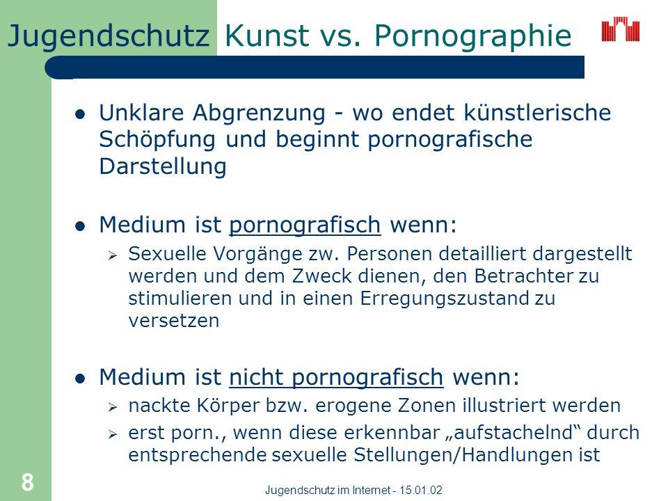Jugendschutz Jugendschutz im Internet - 15.01.02 8 Kunst vs.