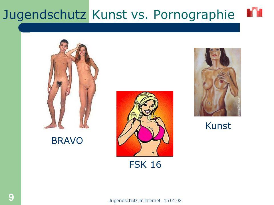 Jugendschutz Jugendschutz im Internet - 15.01.02 8 Kunst vs. Pornographie Unklare Abgrenzung - wo endet künstlerische Schöpfung und beginnt pornografi