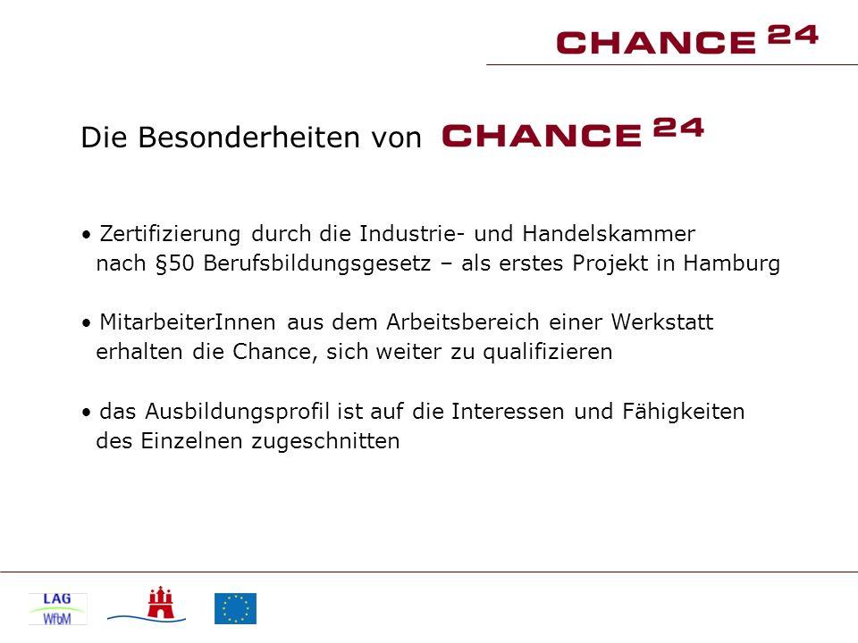 Die Besonderheiten von Zertifizierung durch die Industrie- und Handelskammer nach §50 Berufsbildungsgesetz – als erstes Projekt in Hamburg MitarbeiterInnen aus dem Arbeitsbereich einer Werkstatt erhalten die Chance, sich weiter zu qualifizieren das Ausbildungsprofil ist auf die Interessen und Fähigkeiten des Einzelnen zugeschnitten