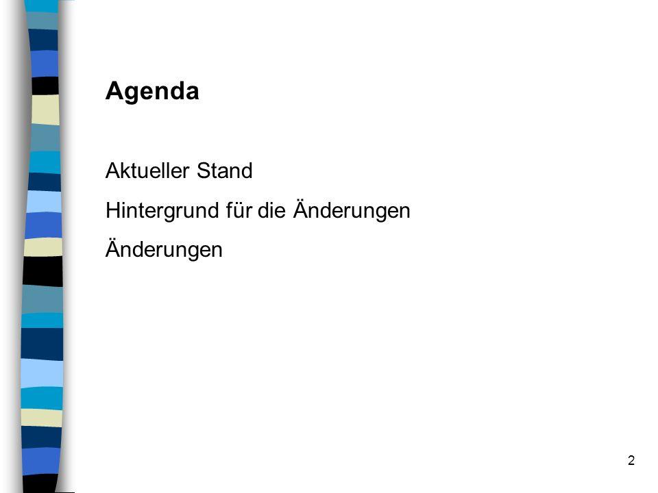 2 Agenda Aktueller Stand Hintergrund für die Änderungen Änderungen