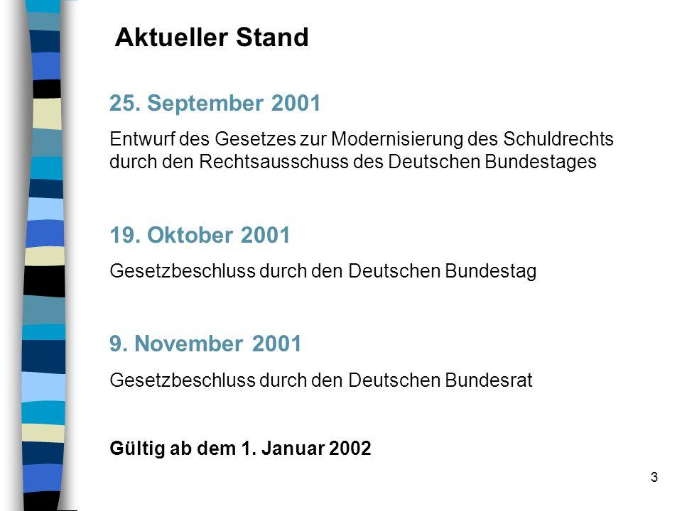 3 Aktueller Stand 25. September 2001 Entwurf des Gesetzes zur Modernisierung des Schuldrechts durch den Rechtsausschuss des Deutschen Bundestages 19.