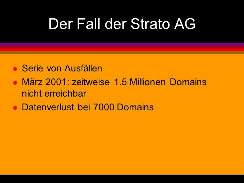 Der Fall der Strato AG l Serie von Ausfällen l März 2001: zeitweise 1.5 Millionen Domains nicht erreichbar l Datenverlust bei 7000 Domains