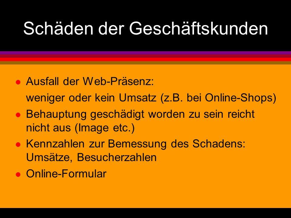 Schäden der Geschäftskunden l Ausfall der Web-Präsenz: weniger oder kein Umsatz (z.B. bei Online-Shops) l Behauptung geschädigt worden zu sein reicht