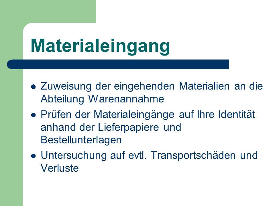 Materialeingang Zuweisung der eingehenden Materialien an die Abteilung Warenannahme Prüfen der Materialeingänge auf Ihre Identität anhand der Lieferpa