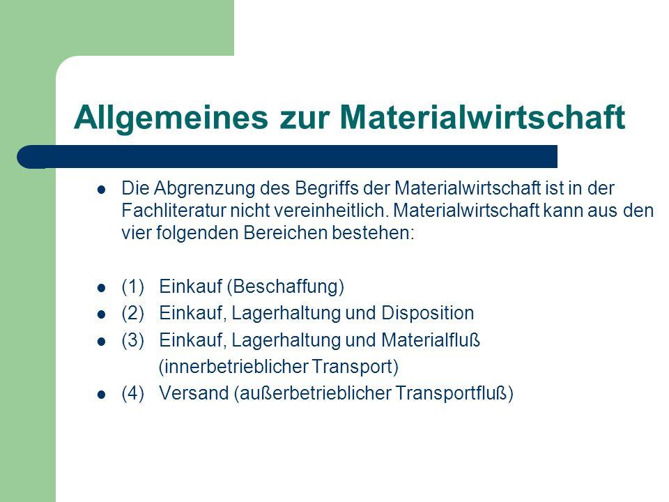 Allgemeines zur Materialwirtschaft Die Abgrenzung des Begriffs der Materialwirtschaft ist in der Fachliteratur nicht vereinheitlich. Materialwirtschaf