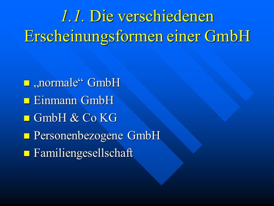 1. Allgemeines zur GmbH Rechtsgrundlage ist das GmbH Gesetz (GmbHG) Rechtsgrundlage ist das GmbH Gesetz (GmbHG) Kapitalgesellschaft Kapitalgesellschaf