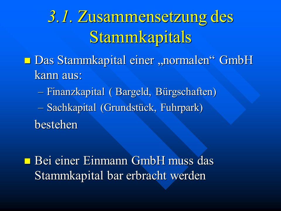 3. Kapitalorganisation Kapital der GmbH = Stammkapital Kapital der GmbH = Stammkapital Stammkapital = Summe der Stammeinlagen Stammkapital = Summe der