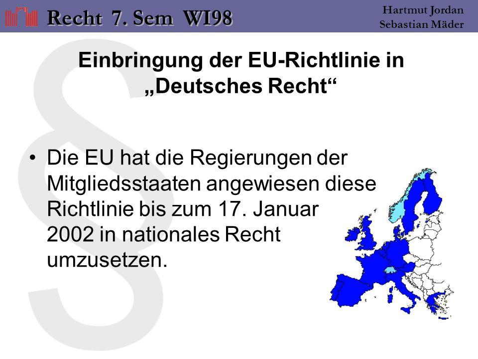 § Hartmut Jordan Sebastian Mäder Einbringung der EU-Richtlinie in Deutsches Recht Die EU hat die Regierungen der Mitgliedsstaaten angewiesen diese Richtlinie bis zum 17.