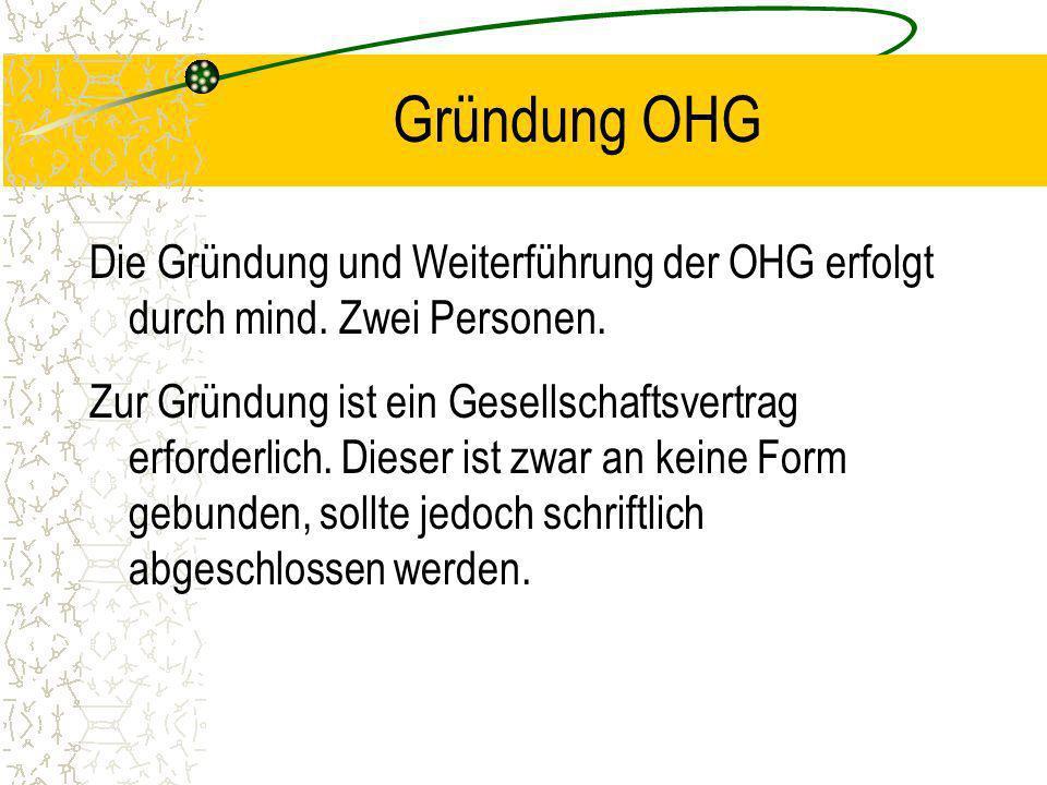 Beispiel OHG Die Wagner OHG erzielte im vergangenen Jahr einen Reingewinn in Höhe von 45.000 DM. Das Eigenkapital von Wagner beträgt 300.000,- DM, das