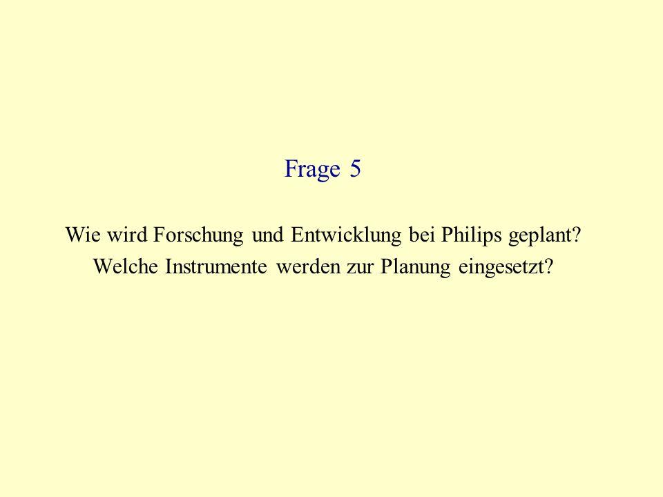 Frage 5 Wie wird Forschung und Entwicklung bei Philips geplant.