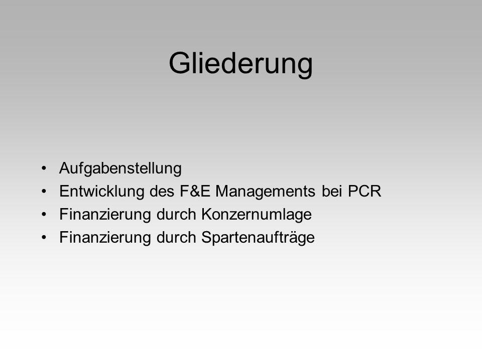 Gliederung Aufgabenstellung Entwicklung des F&E Managements bei PCR Finanzierung durch Konzernumlage Finanzierung durch Spartenaufträge