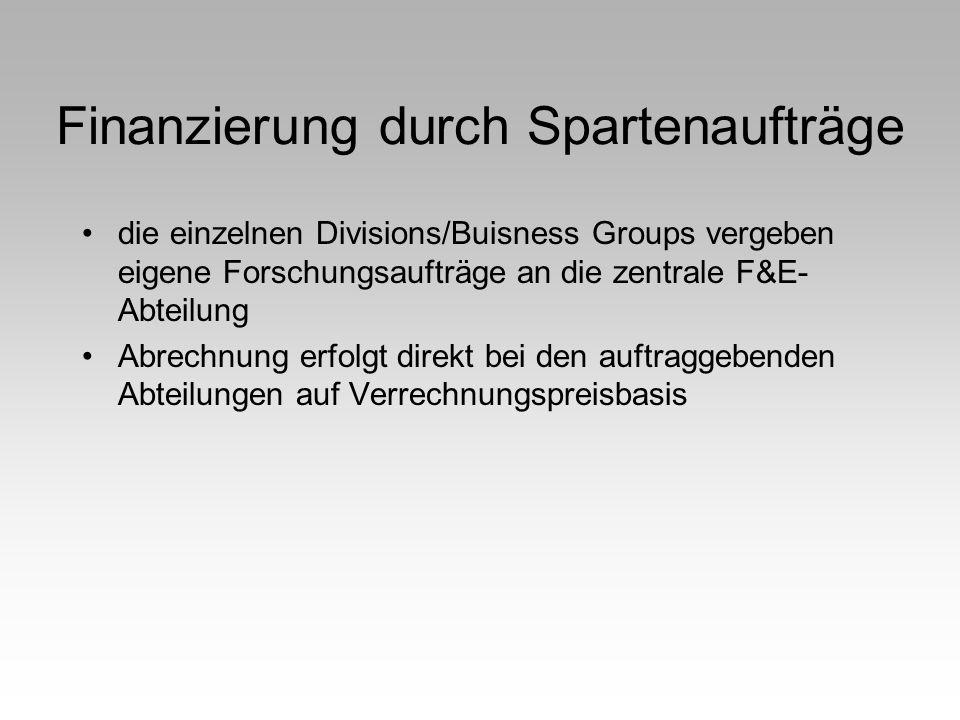 Finanzierung durch Spartenaufträge die einzelnen Divisions/Buisness Groups vergeben eigene Forschungsaufträge an die zentrale F&E- Abteilung Abrechnun