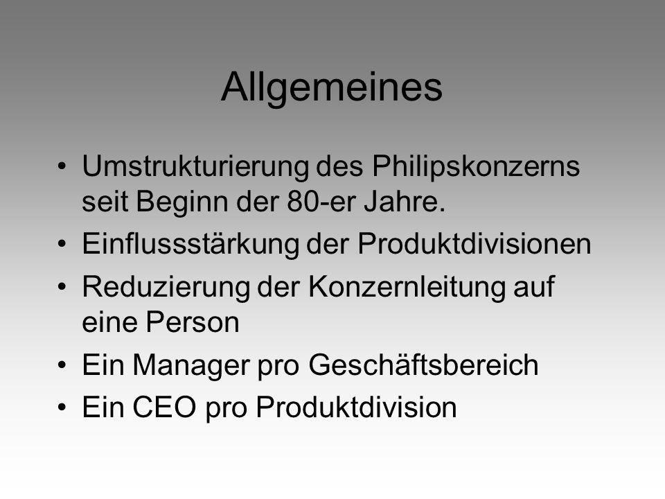 Allgemeines Umstrukturierung des Philipskonzerns seit Beginn der 80-er Jahre. Einflussstärkung der Produktdivisionen Reduzierung der Konzernleitung au