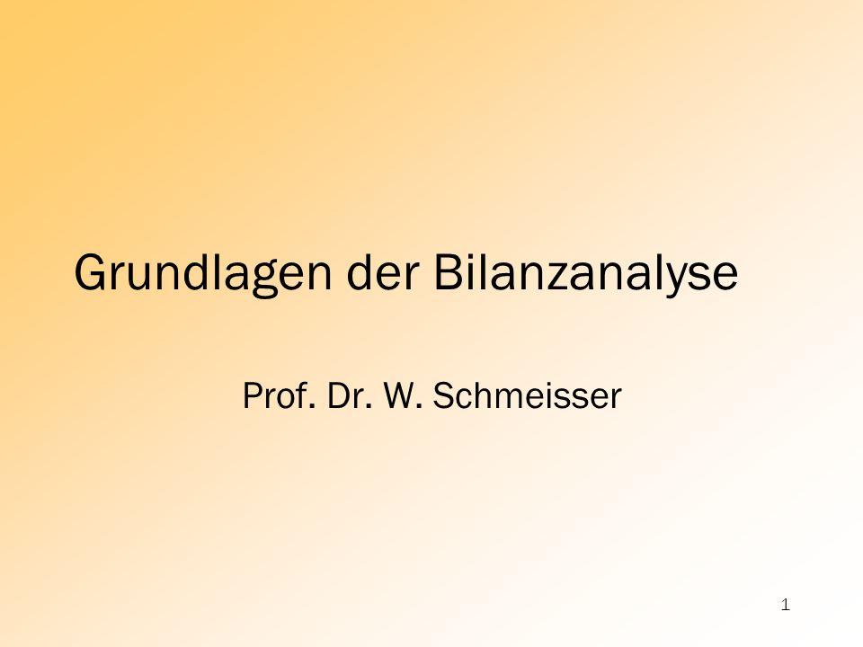 1 Grundlagen der Bilanzanalyse Prof. Dr. W. Schmeisser