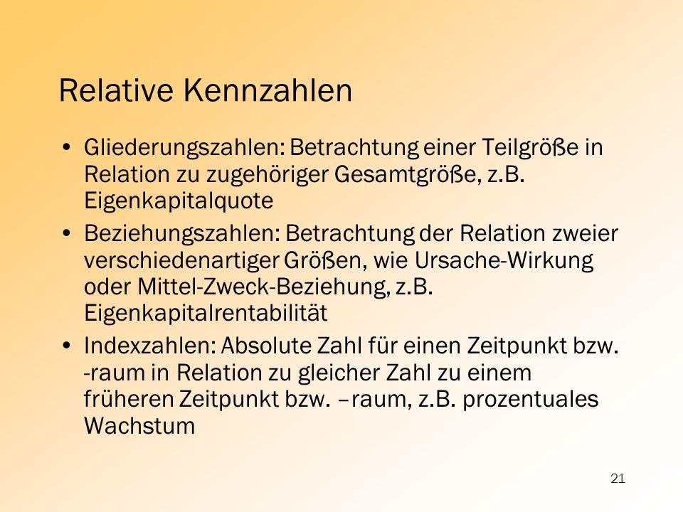 21 Relative Kennzahlen Gliederungszahlen: Betrachtung einer Teilgröße in Relation zu zugehöriger Gesamtgröße, z.B. Eigenkapitalquote Beziehungszahlen:
