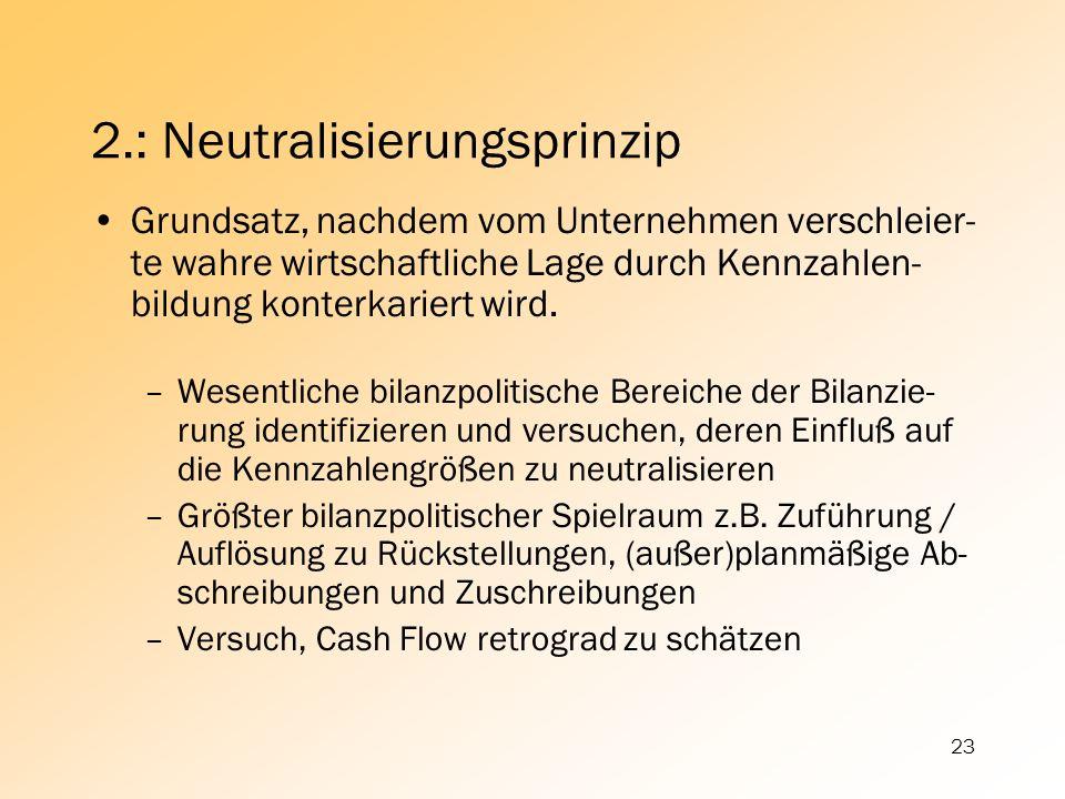 23 2.: Neutralisierungsprinzip Grundsatz, nachdem vom Unternehmen verschleier- te wahre wirtschaftliche Lage durch Kennzahlen- bildung konterkariert w