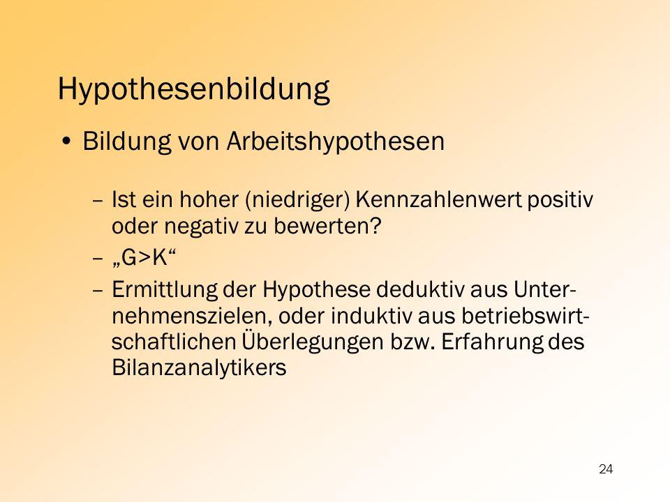 24 Hypothesenbildung Bildung von Arbeitshypothesen –Ist ein hoher (niedriger) Kennzahlenwert positiv oder negativ zu bewerten? –G>K –Ermittlung der Hy