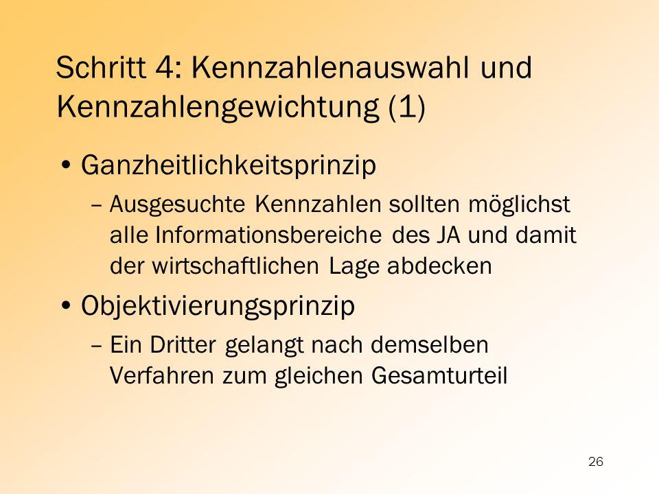 26 Schritt 4: Kennzahlenauswahl und Kennzahlengewichtung (1) Ganzheitlichkeitsprinzip –Ausgesuchte Kennzahlen sollten möglichst alle Informationsberei