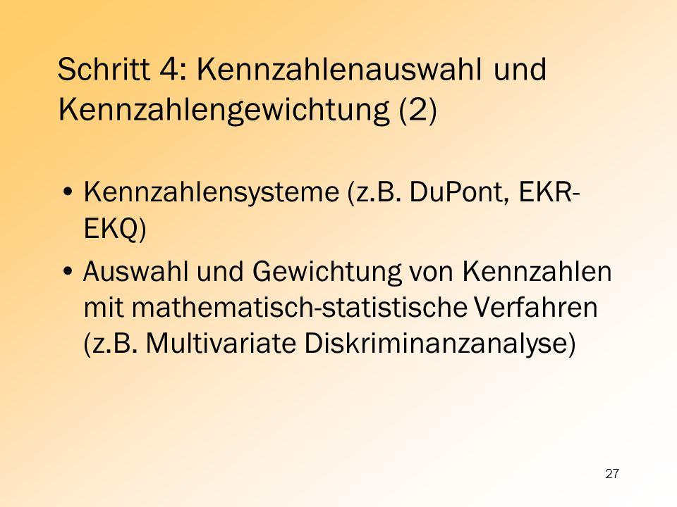 27 Schritt 4: Kennzahlenauswahl und Kennzahlengewichtung (2) Kennzahlensysteme (z.B. DuPont, EKR- EKQ) Auswahl und Gewichtung von Kennzahlen mit mathe